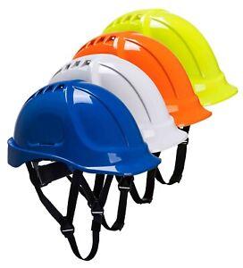 PORTWEST Endurance Helmet Vented Wheel Ratchet Chin Strap Hard Hat Safety PS55