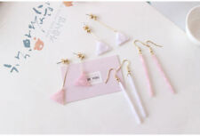 14K Rose Gold Plated White Marble Geometric Rectangle Long Stick Drop Earrings