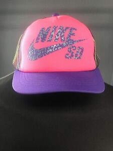 Nike Rainbow Stripe SnapBack Pink & Purple Hat Cap Size Youth 🔥🔥🧢🧒👦🌈🔥🔥