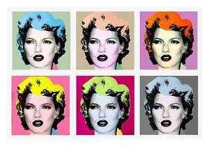 "BANKSY Kate Moss Warhol Style-QUALITY CANVAS PRINT Pop Art Poster 32x24"""