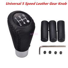 Universal Leather Black 5 Speed Stitche Manual Car Gear Stick Shift Knob Shifter