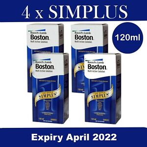 4 x 120ml Boston Simplus Multi Action Contact Lens Solution UK SELLER
