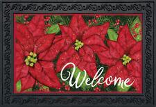 "Holiday Poinsettia Christmas Doormat Welcome Floral Indoor Outdoor 18"" x 30"""