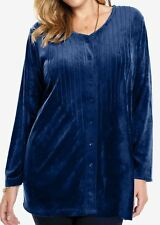 WOMAN WITHIN PLUSH VELOUR PINTUCK TUNIC SWEATER WOMENS PLUS 26/28 2X -NEW IN PKG