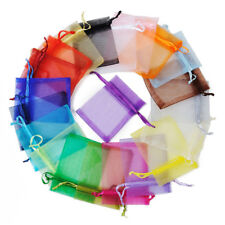 Pack of 5 Pure Color Large Organza Wedding Gift Bags Drawstring Pouches 30x40 CM