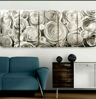 Impressive Silver Abstract Metal Wall Art- Modern EASY TO HANG Panels Jon Allen
