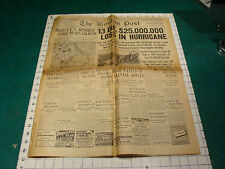 brittle BOSTON POST: 9-16-1944: 13 die, 25,000,000 loss in Hurricane, 12 pages
