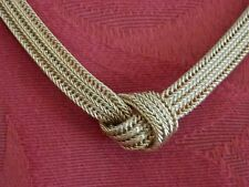 "Vintage mesh Christian Dior Germany necklace gold tone w knot 15"" Signed"