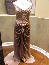 NWT Bicici SILK pageant formal prom occasion dress Cocoa brown ombre XL 10/12