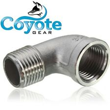 "1/4"" NPT Male x Female Street 90 Degree Elbow 304 Stainless Steel Fitting"