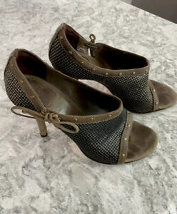 Christian Dior Sexy Sandal Shoes Heels Suede studs mesh Italy 38/8 New $995