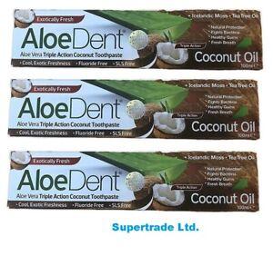 Aloe Dent Aloe vera Triple Action Coconut Fluoride Free Toothpaste 100ml X 3
