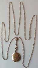 & Chain With Locket Necklace 9M Antique Victorian Gold Filled Pearl Watch Slide