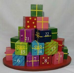 Christmas Advent Calendar Wood Present RARE Tree Gift Boxes Presents Doors