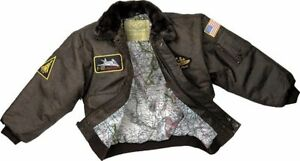 Kids Brown WWII Aviator Flight Bomber Fighter Pilot Jacket with Patches