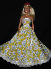 Barbie Doll Dress Handmade Yellow with Daisy's Gown