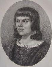 ALAIN CHARTIER . Portrait, lithographie de 1821,