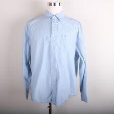 Timberland Casual Dress Shirt Men's XL Vertical Stripe Blue White Beige