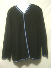 SARAH SPENCER Women's Open Cardigan Style Sweater,2X Plus,Black/Blue,Long Sleeve