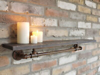Antique Industrial Pipe Shelf Storage Shelving Unit Coat Hanging Wall Hooks 76cm