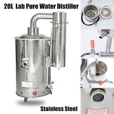 20L/H Lab Pure Water Distiller Stainless Steel Moonshine Easy Install No Leakage