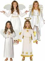 Child White Angel Costume Girls Christmas Nativity Fancy Dress Kids Xmas Outfit