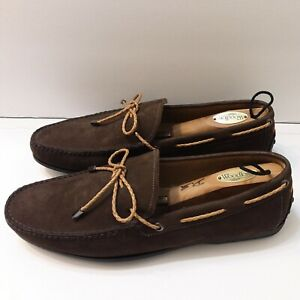 Peter Millar Men's Size 11 M Brown Nubuck Tie Driver Suede Driving Loafers Shoes