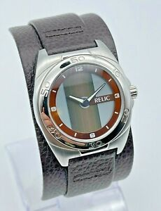 NEW Men's RELIC Silver Tone Brown Leather Cuff Band, Animated Dial, Runs ZR55072
