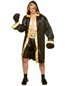 Adult Men's Champion Boxer Costume Sports Fight Fancy Dress One Size