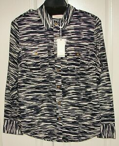 Tory Burch BRIGITTE BLOUSE Navy Space Dye Size 12 with Logo buttons $198 (NWT)