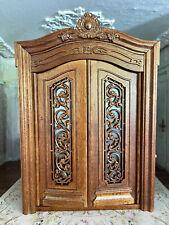 Vintage Miniature Dollhouse Artisan Custom Carved Wood Double Doors Wood & Glass