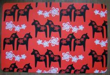 Swedish Dala Horse design set of 6 Red Place Mats Sweden New Unused