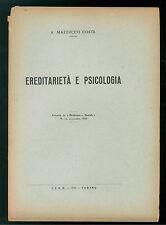 MASSUCCO COSTA ANGIOLA EREDITARIETA' E PSICOLOGIA ITeR 1950