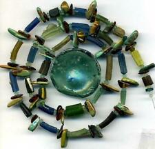 Roman Ancient Green Blue Glass Beads Encrusted Tubes Disks Amber Heishi 22""