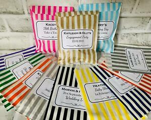 Personalised Sweet Bags Striped Candy Bags Wedding Favour Birthday Party Bag NEW