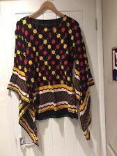 "Ladies Handmade African Tunic Top Black/red/yellow Bell Sleeves Bust 38"" Bnwot"