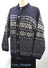 LL Bean Wool mix Fair Isle Nordic ugly Christmas sweater cardigan Blue L NEW VTG