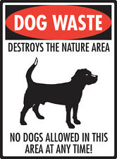 """Dog Waste - Destroys the Nature Area Aluminum No Dog Pooping Sign - 9"""" x 12"""""""