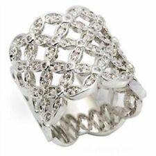 White Gold Plated Cubic Zirconia Band Costume Rings
