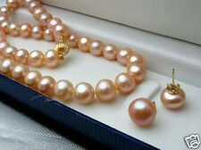"Genuine 7-8MM Natural Pink Akoya Cultured Pearl Necklace 18"" + Earrings A"