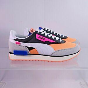 Size 10 Men's PUMA Future Rider Play On Sneakers 371149-04 Black/Fizzy/Orange/Hi