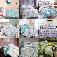 New Cotton Duvet Cover Set Quilted Bedding Set With Pillow Cases & Fitted Sheet