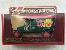 Matchbox Yesteryear Y-21 1926 Ford Model TT GEC OSRAM Old Shop Stock
