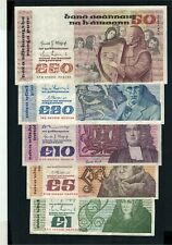 Full Set Of Old Irish Series B Banknotes From 1 Pound To 50 Pounds 1978 - 1990