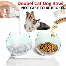 More details for cat elevated double bowl, anti-vomit raised cat bowls, tilted cat feeding bowl