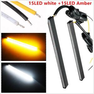 2 PCS Universal Ultra Slim Switchback 30LED White/Amber LED Daytime Lights Lamp