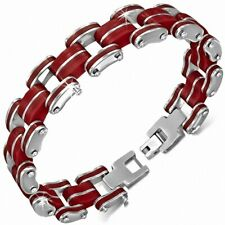 Bracelet with Link Men Stainless Steel with Rubber Red 446