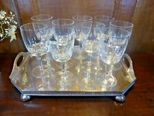 EXCELLENT Crystal  SET of 9 CUT WINE GLASSES - HEXAGONAL CUT STEMS - 5 5/8""