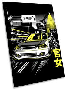 Kanjo Street Racer Car Picture CANVAS WALL ART Portrait Print Black