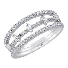 New Ladies 14k White Gold Diamond Triple Row Right Hand Fashion Ring
